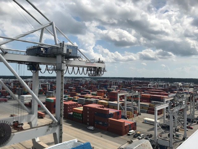 A view of the Port of Savannah from aboard the MSC Lucy.
