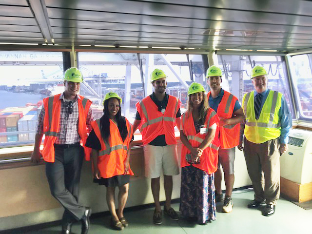 "UWL Supply Chain Award winners stand with their tour guides aboard the MSC Lucy. From left to right: Celestino ""Tino"" Nieves, Latesha Mosley, Dave Pycraft (UWL Savannah Tour Guide), Adrienne Parrish, Johnny Maiden, Bill Barrs (Regional Sales Manager, Georgia Ports Authority)"