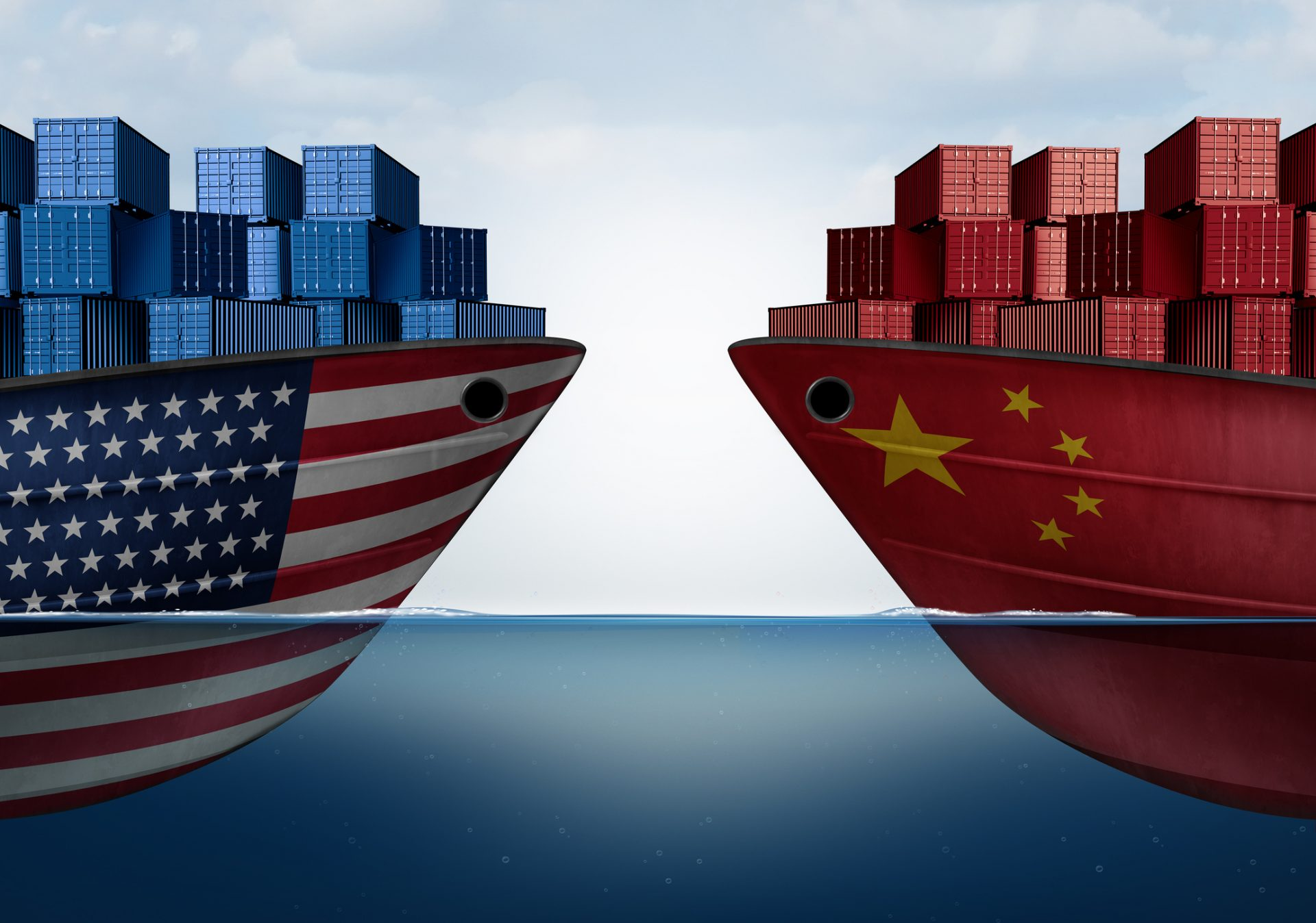 Section 301 Tariffs China United States trade and American tariffs as two opposing cargo ships as an economic taxation dispute over import and exports concept as a 3D illustration.
